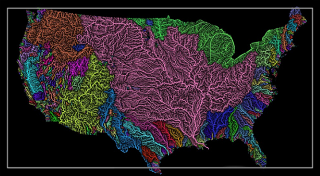 Amazing map of every river basin in the US.