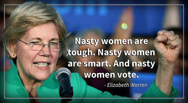 Elizabeth Warren: 'Nasty Women' will defeat Donald Trump on election day.