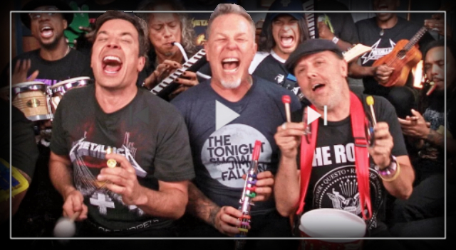 "Jimmy Fallon, Metallica & The Roots Sing ""Enter Sandman"" with Classroom Instruments."