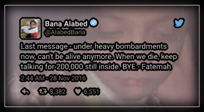 Aleppo, War zone girl's 'last message'.