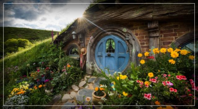World famous in New Zealand: Hobbiton Movie Set.