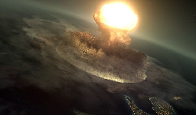 The Asteroid that finished the Dinosaurs. A grain of sand hitting a bowling ball. –Liz Dunphy.